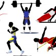 Athletic  sport silhouettes. Vector illu — Stock Vector