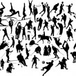 Collection of black and white sport silh — Vector de stock