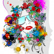 Vector de stock : Floral woman silhouette