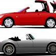 Two  cars cabriolet on the road. Vector - 