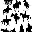Horse riders silhouettes. Vector illustr — Stock Vector #1102335
