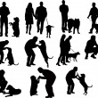 Silhouettes with dog - Stock Vector