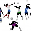 Royalty-Free Stock Vector Image: Set of volleyball women silhouettes