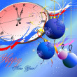 Snowflakes, clock and balls. Christmas. — Stock Vector