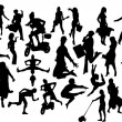 Women in action silhouettes. Vector illu — Stock Vector
