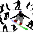 Royalty-Free Stock Vector Image: Snowboard man silhouettes. Vector illust