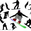 Snowboard man silhouettes. Vector illust — Stock Vector #1102917