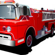 Fire engine and fireman isolated on back - Stock Vector