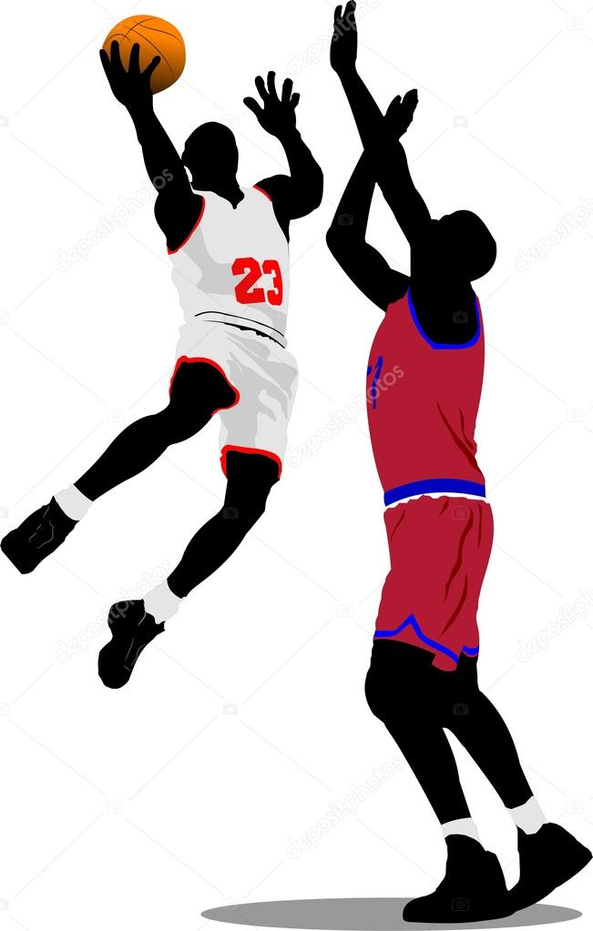 Basketball players. Vector illustration — Stock Vector #1100711