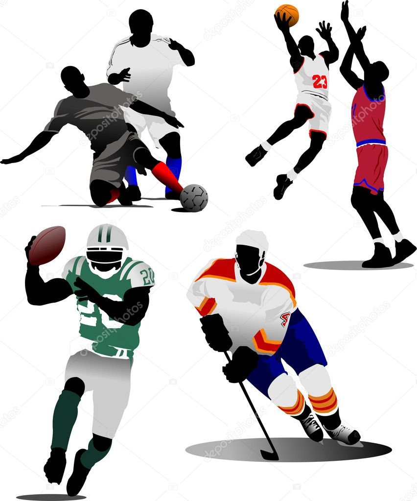 Four kinds of team sport game. Vector illustration — Vettoriali Stock  #1100719