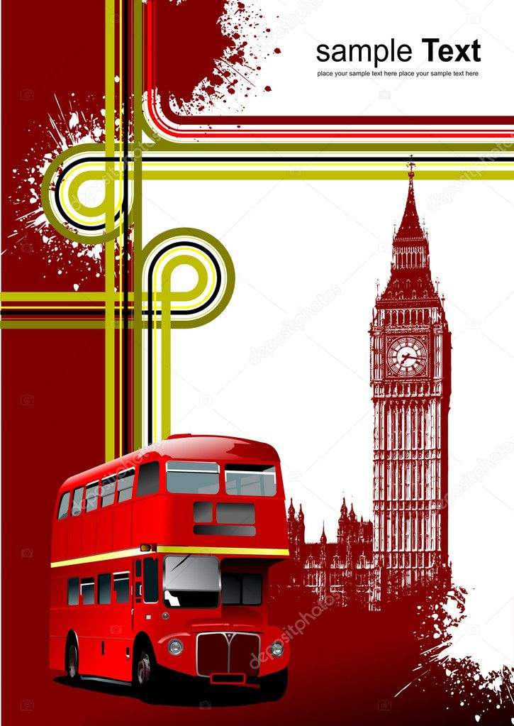 Cover for brochure with London images. Vector illustration — Stock Vector #1101496