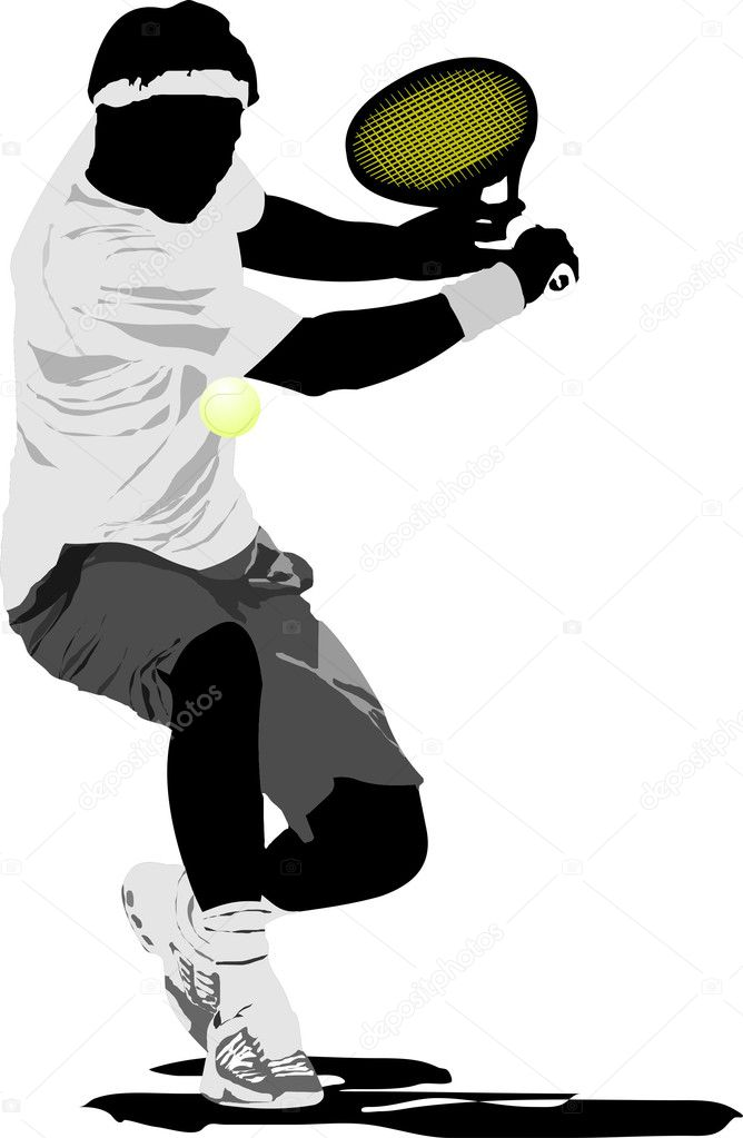 Tennis player. Vector illustration — Stock Vector #1102641