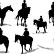 Horse riders silhouettes. Vector illustr — Stock Vector