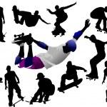 Jumping skateboarder silhouette vector — Stock Vector