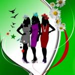 Green floral background. Vector illustr — Stock Vector