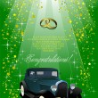 Stock Vector: Wedding green background with rarity car
