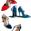 Three pairs of fashion woman shoes. Vect — Imagens vectoriais em stock