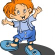 Red-haired funny little boy. Vector illu — Stock Vector