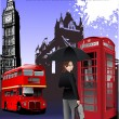 Stok Vektör: London images background. Vector illustr