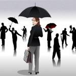 hommes et femmes avec des silhouettes de parapluie — Vecteur #1112995
