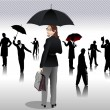 Stock Vector: Men and women with umbrellsilhouettes