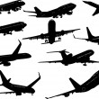Vetorial Stock : Ten Airplane silhouettes. Vector illust