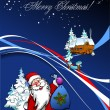 Christmas - New Year background with San - Stock Vector