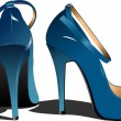 Fashion blue woman shoes. Vector illustr — Stock Vector