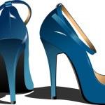 Fashion blue woman shoes. Vector illustr — Stock Vector