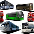 Seven types of bus. Vector illustration — Stock vektor