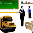 Stock Vector: Back to school. School equipment with t