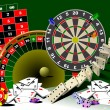 Roulette table and casino elements. Vect — 图库矢量图片
