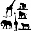 African animal silhouettes. Black and wh — Stock Vector