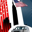 Royalty-Free Stock Vector Image: Background with american images and car.