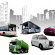 Five examples of city transport on urban — Stock Vector