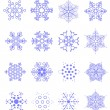 Sixteen snowflakes as winter design elem - Stockvectorbeeld