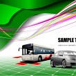 Royalty-Free Stock Vector Image: Abstract green background with bus and c
