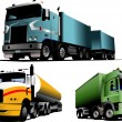Green, blue and yellow  trucks on the ro — Vettoriali Stock