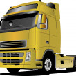 Yellow  truck on the road. Vector illust — Stock vektor