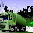 Abstract urban background with lorry ima — Stockvectorbeeld