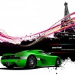 Royalty-Free Stock Vector Image: Green sport car with Paris image backgro