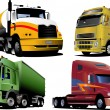 Four   trucks on the road. Vector illust - Stock Vector