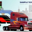 Abstract hi-tech background with truck i — Stock Vector