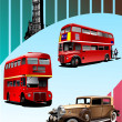 Stock Vector: Retro Broun car and two London double De