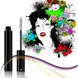 Floral woman face with mascara image. Ve — Stock Vector