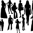 kvinnor silhuetter. vektor illustration — Stockvektor