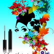 Floral woman silhouette with mascara - Stock Vector