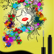Floral woman silhouette with mascara ima - Stock Vector