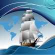 Cover for brochure with old sailing vess - Stock Vector