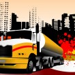 Stock Vector: Abstract urban background with lorry ima